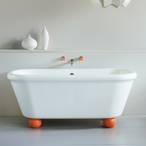The Water Monopoly Rockwell Bath In White With Squash Orange